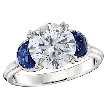 Round Diamond with Half Moon Sapphires Ring