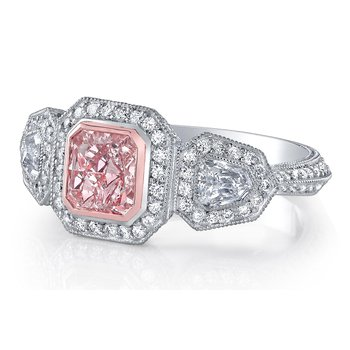 Fancy Pink Radiant Cut Engagement Ring