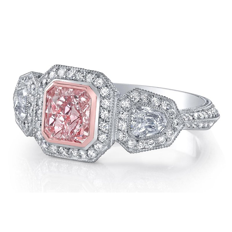 Crafted for Henry C. Reid Fancy Pink Radiant Cut Engagement Ring