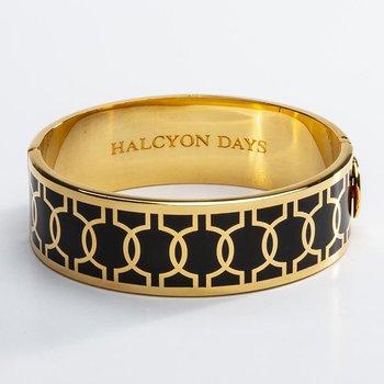 Geometric Circle Black & Gold Bangle