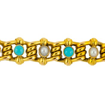 Turquoise & Pearl Gold Bracelet
