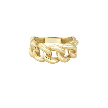 Gold Large Miami Cuban Link Ring