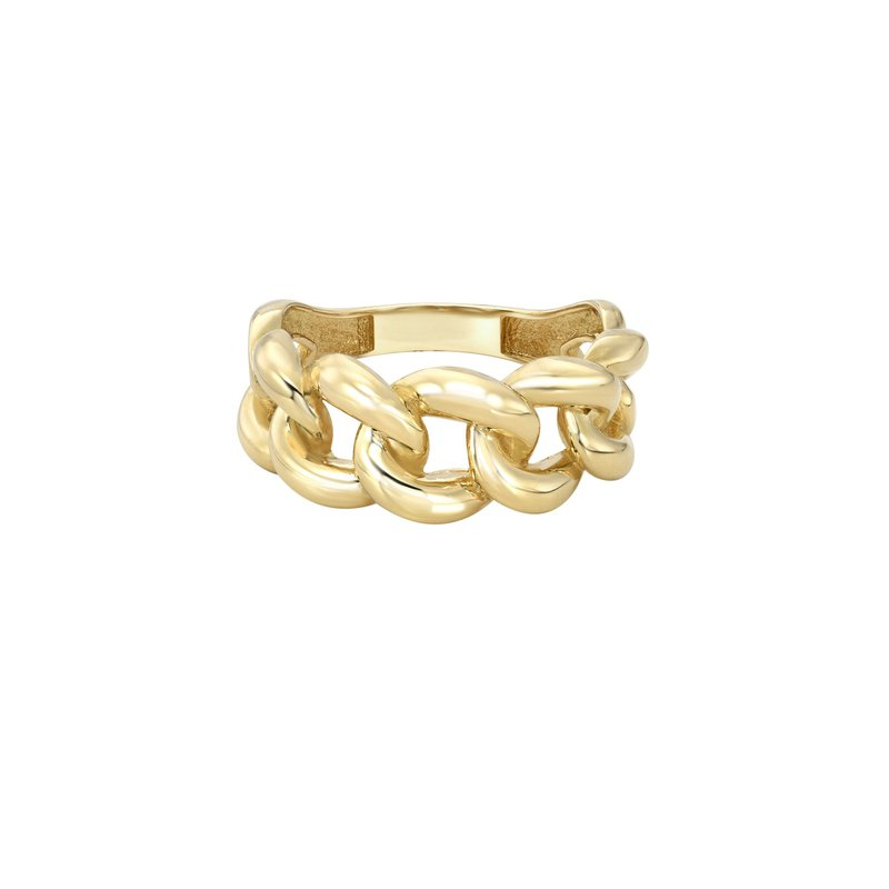 Zoe Lev Gold Large Miami Cuban Link Ring