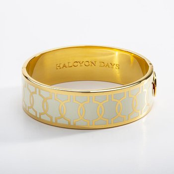 Geometric Cream & Gold Bangle