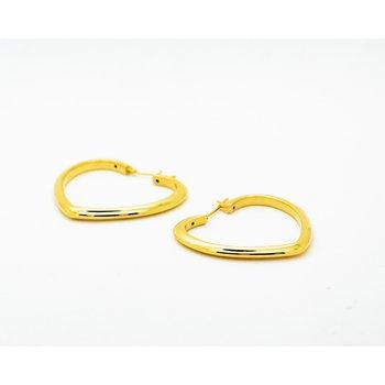 14k Yellow Gold Heart Hoops