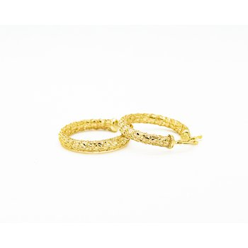 14k Yellow Gold Woven Hoops