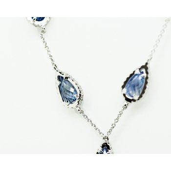 Blue Sapphire Raindrop Necklace