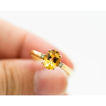 Classic Citrine and Diamond Ring in 14k Yellow Gold
