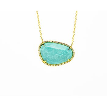 Turquoise Diamond Halo Necklace