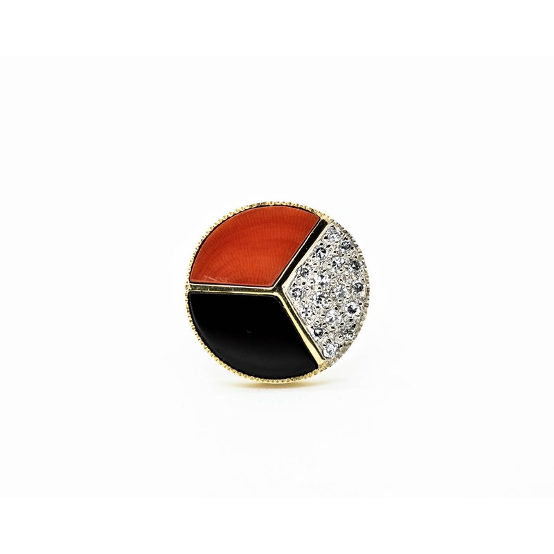 Estate Jewelry Coral, Onyx and Diamond Ring