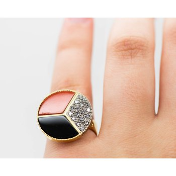 Coral, Onyx and Diamond Ring