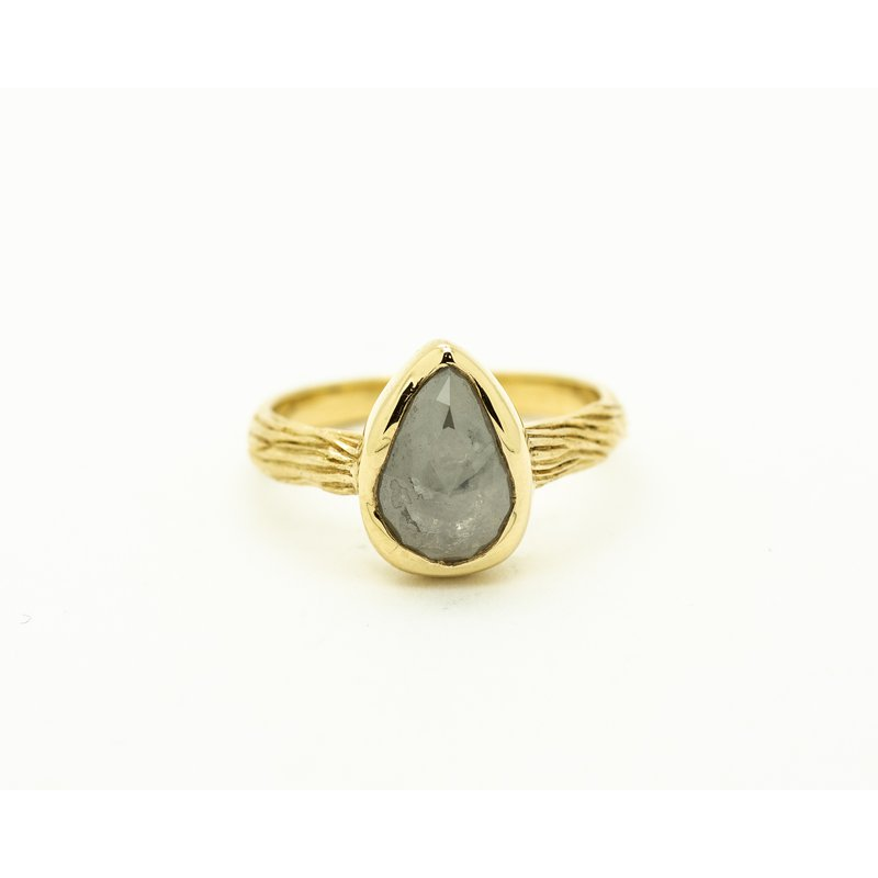 Jewelry Couture Exclusives Pear Cut Raw Grey Diamond Engagement Ring