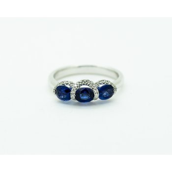 Triple Sapphire and Diamond Ring
