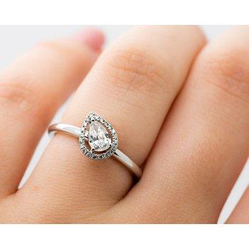 Offset Pear Cut Diamond Engagement Ring