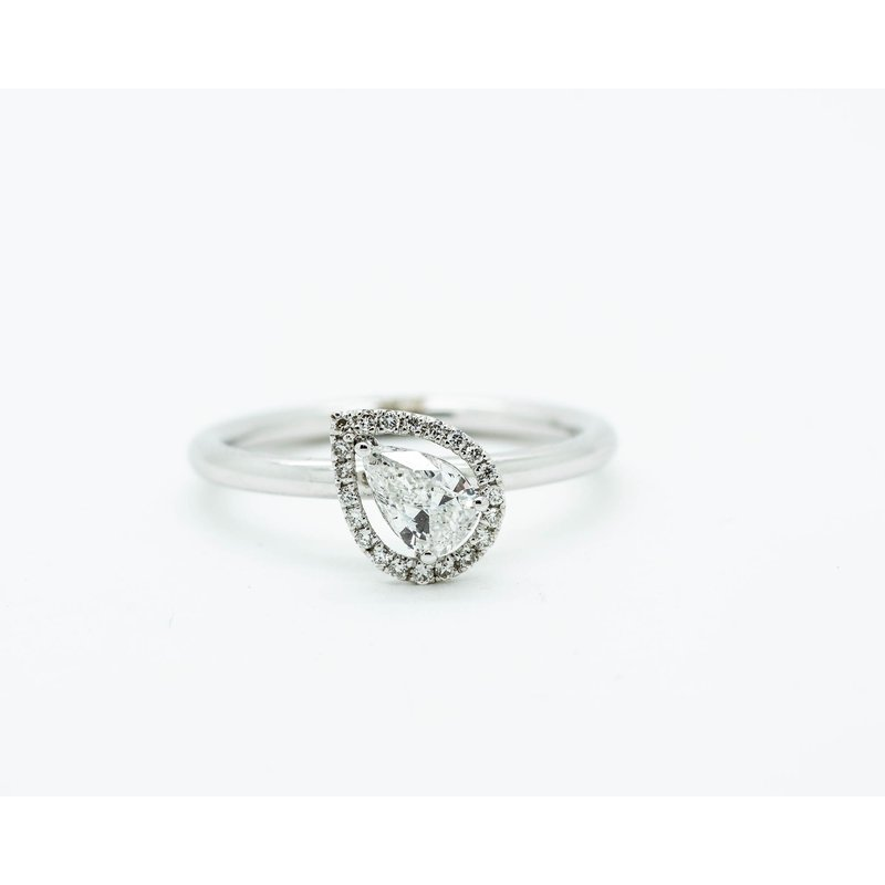 Jewelry Couture Exclusives Offset Pear Cut Diamond Engagement Ring