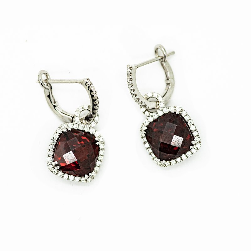 Jewelry Couture Exclusives Cushion Cut Garnet and Diamond Earrings