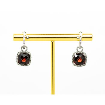Cushion Cut Garnet and Diamond Earrings