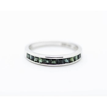 Green Tourmaline Inlay Stacking Band