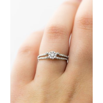 Curl White Gold Diamond Engagement Ring (Setting Only)
