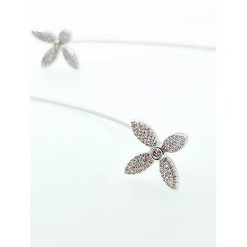 Diamond Flower Long Earrings