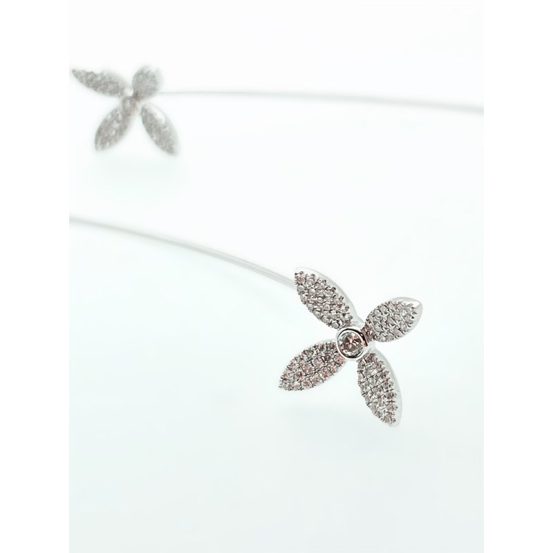 Jewelry Couture Exclusives Diamond Flower Long Earrings