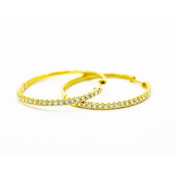 Dainty Yellow Gold Diamond Hoops