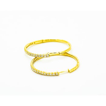 Dainty Yellow Gold Diamond Hoops