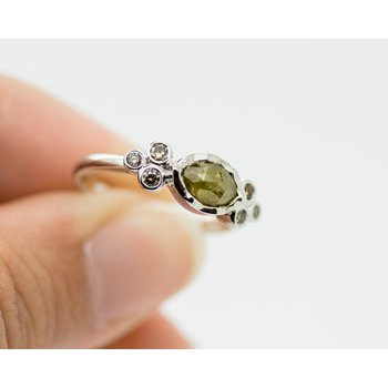 Raw Green Rose Cut Diamond Engagement Ring