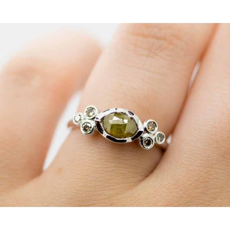 Jewelry Couture Exclusives Raw Green Rose Cut Diamond Engagement Ring
