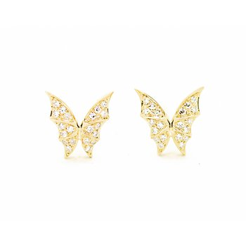 14k Yellow Gold Butterfly Studs