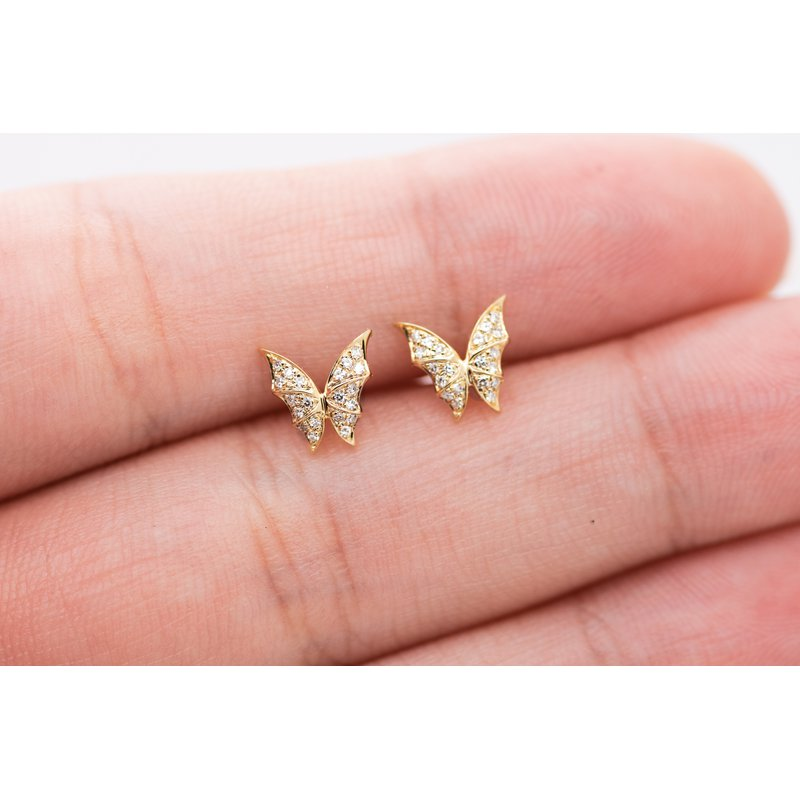 Jewelry Couture Exclusives 14k Yellow Gold Butterfly Studs