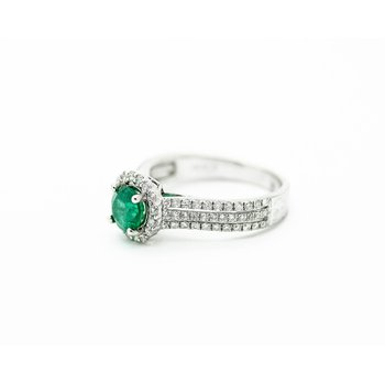 Tri-Band Emerald and Diamond Engagement Ring