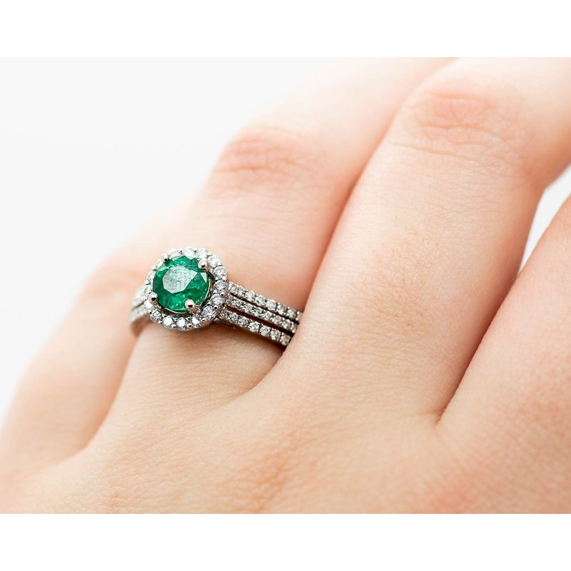 Jewelry Couture Exclusives Tri-Band Emerald and Diamond Engagement Ring