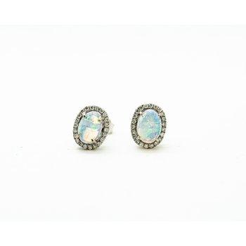 Australian Opal Diamond Studs