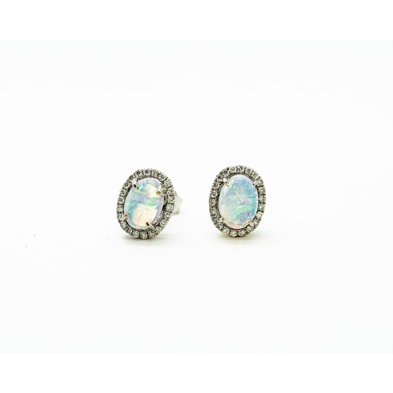 Jewelry Couture Exclusives Australian Opal Diamond Studs