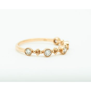 14k Rose Gold Textured Diamond Band