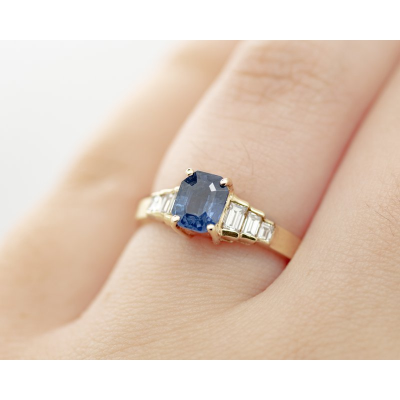 Jewelry Couture Exclusives Art Deco Style Sapphire Engagement Ring