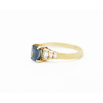 Art Deco Style Sapphire Engagement Ring