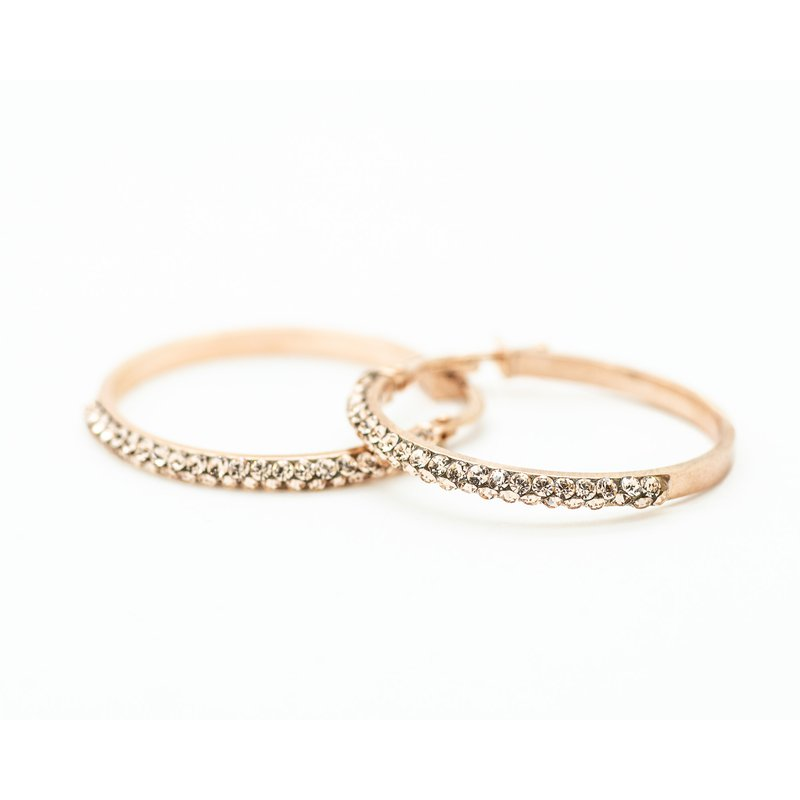Jewelry Couture Exclusives 14k Rose Gold Hoops with Swarovski Crystals