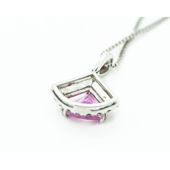Pink Tourmaline Trillion Cut Pendant
