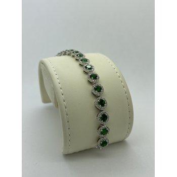 Diamond and Tsavorite White Gold Bracelet