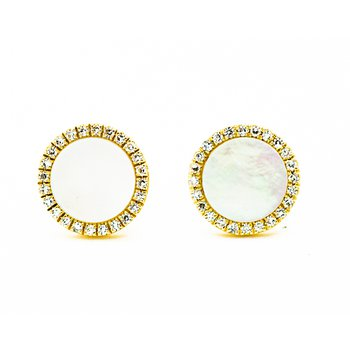 Mother of Pearl Diamond Halo Studs