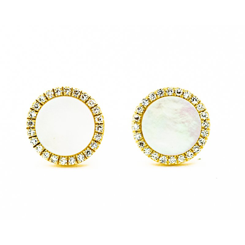 Jewelry Couture Exclusives Mother of Pearl Diamond Halo Studs