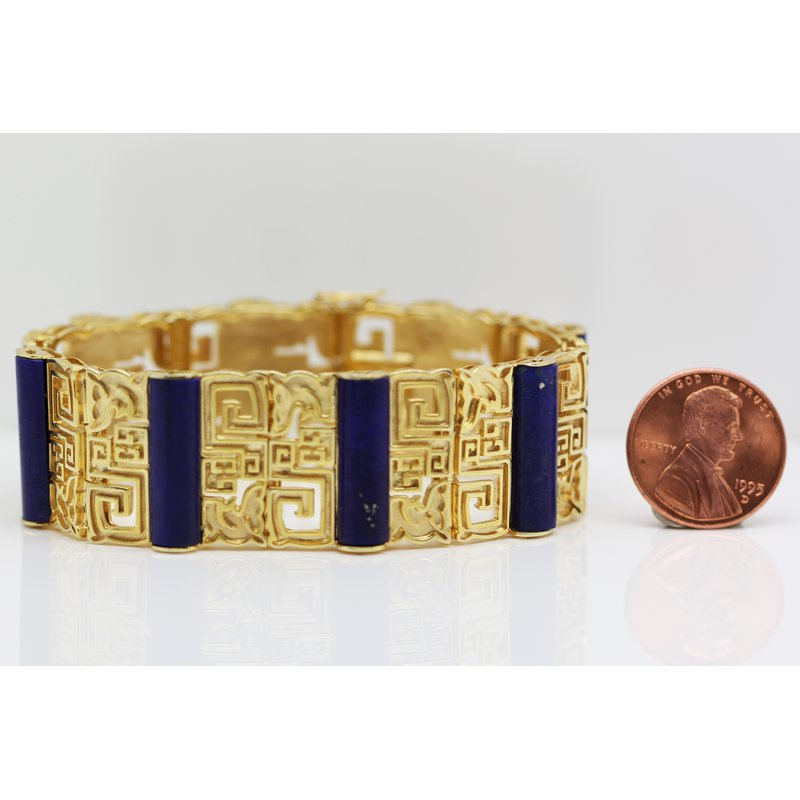 Estate Jewelry Yellow Gold and Lapis Bracelet