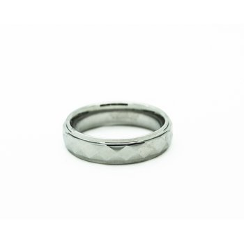 Faceted Tungsten Wedding Band