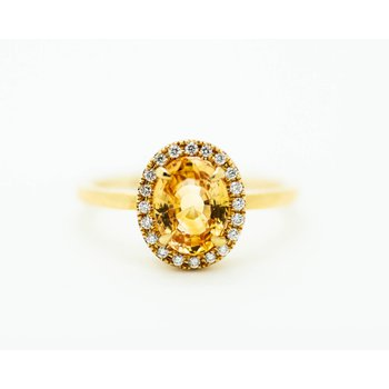 Royal Topaz Diamond Halo 14k Gold Ring