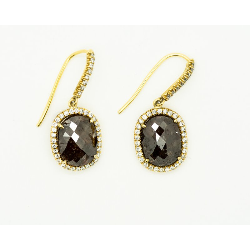 Jewelry Couture Exclusives Raw Brown Diamond Halo Earrings