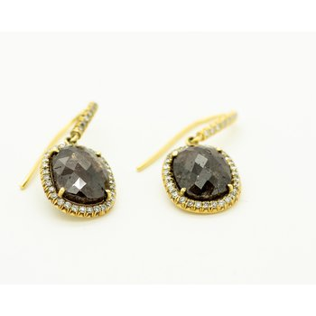 Raw Brown Diamond Halo Earrings