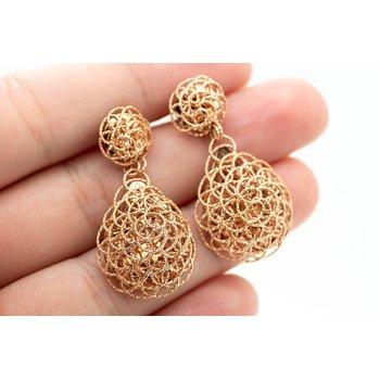 Swirl 14k Rose Gold Drop Earrings