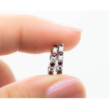 Petite Diamond and Ruby Huggie Hoops